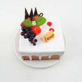 食品サンプル スクエア型ケーキ フルーツデコレーション (C)