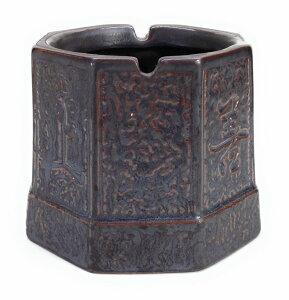灰皿 上善若水 釣り鐘風 和モダン 陶磁器製 (ブラウン)