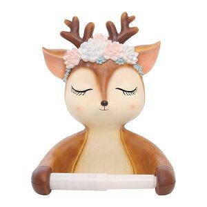トイレットペーパーホルダー タオル掛け 花かんむりをかぶった小鹿 優しい表情