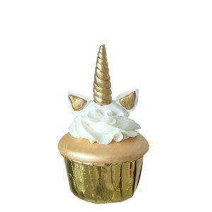 食品サンプル カップケーキ ユニコーンの耳と角 生クリーム (ゴールド)
