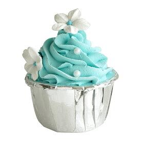 食品サンプル カップケーキ 生クリーム フラワーのトッピング (ブルー)