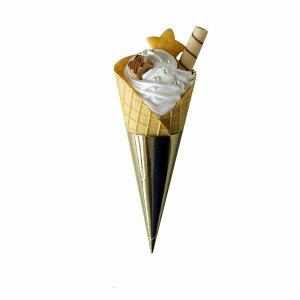 食品サンプル ソフトクリーム ワッフルコーン ゴールドのトッピング (Aタイプ)