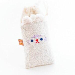 メガネケース 巾着袋 アニマルモチーフ ぬいぐるみ風 立体的な耳 (ホワイト) 【送料無料】