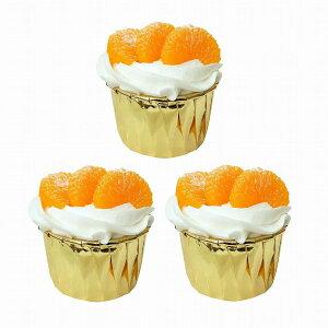 食品サンプル カップケーキ 生クリーム フルーツトッピング シンプル (3個セット, ミカン)