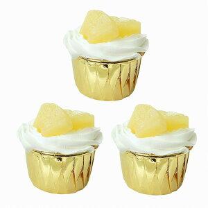 食品サンプル カップケーキ 生クリーム フルーツトッピング シンプル (3個セット, パイナップル)