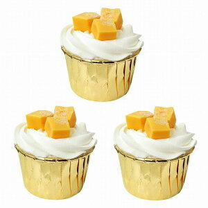 食品サンプル カップケーキ 生クリーム フルーツトッピング シンプル (3個セット, マンゴー)