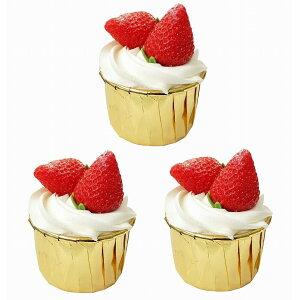 食品サンプル カップケーキ 生クリーム フルーツトッピング シンプル (3個セット, イチゴ)