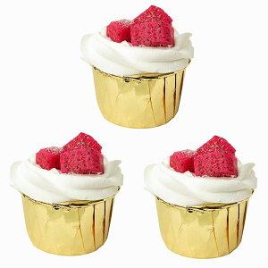 食品サンプル カップケーキ 生クリーム フルーツトッピング シンプル (3個セット, ドラゴンフルーツ)