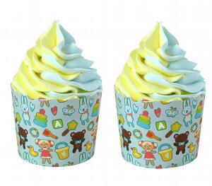 食品サンプル カップケーキ 2色の生クリーム イラスト付きの容器 2個セット (オモチャ)