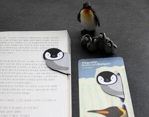 しおり マグネット式 かわいい鳥 ペン機能付き 1個 (ペンギン) 【送料無料】