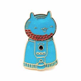 ピンバッジ ブルーのネコ ガチャガチャマシーン にっこり笑顔 【送料無料】