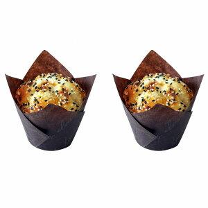 食品サンプル カップケーキ マフィン 英字柄のカップ 2個セット (ごま)