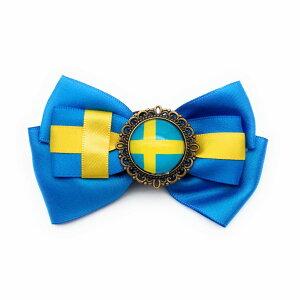 ブローチ リボン 国旗ボタン付き (スウェーデン) 【送料無料】