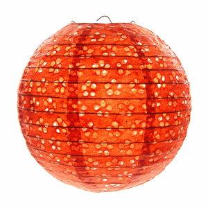 紙ちょうちん 直径20cm お花の透かし入り 1個 (オレンジ) 【送料無料】