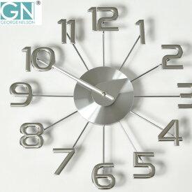 掛け時計 【フック付き】 正規ライセンス取得 George Nelson ジョージ・ネルソン フェリス・ウォール・クロック 時計 ネルソンクロック 掛時計 壁掛け時計 おしゃれ 見やすい デザイナーズ リビング 大型 インテリア雑貨 復刻版 リプロダクト ギフト シルバー シンプル