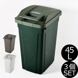 日本製 SP ハンドル付ダストボックス 45L 3個セット ゴミ箱 ごみ箱 ダストボックス ふた付き おしゃれ 分別 屋外 45リットル スリム キッチン インテリア雑貨 北欧 リビング くずかご かわいい デザイン ごみばこ 蓋付き フタ付き 白 ホワイト アスベル