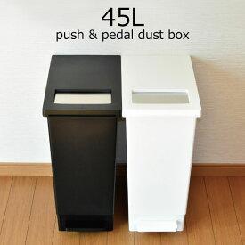 ゴミ箱 ふた付き おしゃれ 45リットル 北欧 インテリア雑貨 分別 ダストボックス キッチン リビング ごみ箱 ゴミ袋 スリム ペダル ステンレス 大型 カウンター 袋見えない 中身見えない ( プッシュ&ペダルダストボックス 45L )