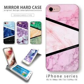 iPhone11対応 ミラーケース 鏡付き ミラー付き スマホ ケース ハードケース コスメ マット 大理石 マーブル アイフォン iPhoneSE(第2世代) SE2 iPhoneXS Max iPhoneXR iPhone8plus ICカードホルダー付き スマホカバー