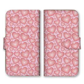 手帳型 全機種対応 ケース SIMフリー対応 スマホ スマートフォン iPhoneX/XS Max XR対応ケースハート 幾何学 細かい 柄 模様 デザイン 芸術 アート かわいい おしゃれ 個性的 人気 定番 オススメ ピンク 白 サーモンピンク set15497