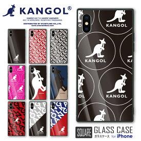 KANGOL カンゴール スクエアガラスケース 衝撃吸収 ガラスケース スマホケース 耐衝撃 強化ガラス iPhone X/XSケース TPU ハードケース 光沢 iphone8 カンガルー ファッションブランド ヒップホップ ポップ