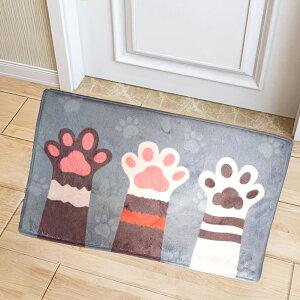 ねこ 猫 肉球 キッチンマット ラグマット かわいい おしゃれ 滑り止め 玄関マット キッチン 50×80cm バスマット 台所 室内
