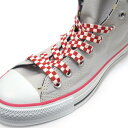 LA-018-110【チェッカー・チェック】【靴ひも シューレース】【110cm】【1.0cm幅】レッドチェッカー柄プリントのシュ…