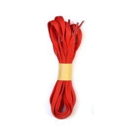 【3番レッド】【靴ひも シューレース】【100cm】【0.8cm幅】平紐 平ひも 無地シューレース 2本入り(1足分)/シューズアクセサリー/運動靴/靴紐/ハイカット/スニーカー/長い靴紐/赤色靴ひも