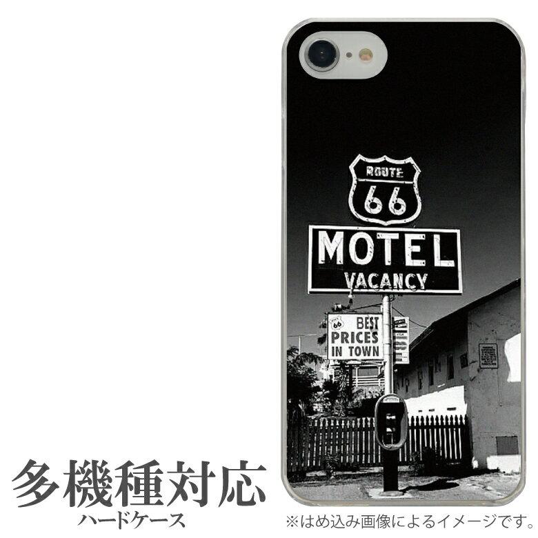 オリジナル No50 MOTEL 多機種に対応 クリアハードケース iPhone X iPhone7 Xperia XZ1 Galaxy AQUOS スマホケース アメリカン モーテル ルート66 フォト 写真 ROUTE66 ブラック おしゃれ クール スタイリッシュ オシャレ