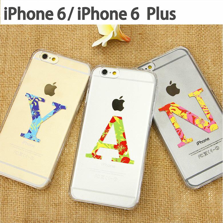 スマホケース iPhone 6 iPhone 6s iPhone 6sPlus ケース 対応 クリアケース ハワイアン イニシャル | アイフォン スマホ ハード スマホカバー カバー ハワイ