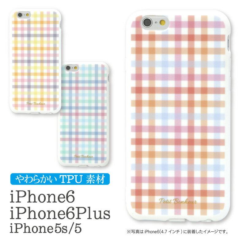 スマホケース iPhone 6 iPhone6Plus 対応 ソフト ケース ギンガム チェック | iPhone6 iPhone6ケース アイフォン6 アイホン6 シンプルかわいい おしゃれ