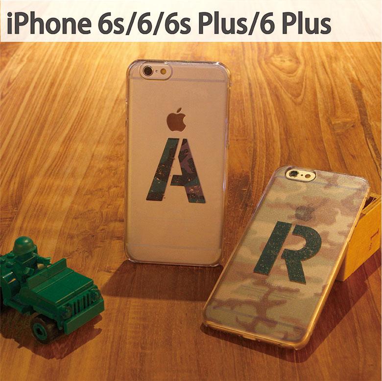 スマホケース iPhone 6 iPhone 6s iPhone 6sPlus ケース 対応 クリアケース 迷彩 イニシャル   アイフォン スマホ ハード スマホカバー カバー カモフラ