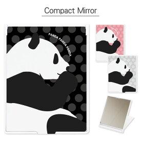 コンパクトミラー PANDA 折り畳み式   鏡 かがみ ミラー コンパクト 小さい 軽い 軽量 コスメ 化粧 雑貨 スタンド おしゃれ かわいい パンダ ぱんだ ドット柄