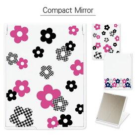コンパクトミラー デイジーパターン 折り畳み式 | 鏡 かがみ ミラー コンパクト 小さい 軽い 軽量 コスメ 化粧 雑貨 スタンド おしゃれ かわいい 花 花柄