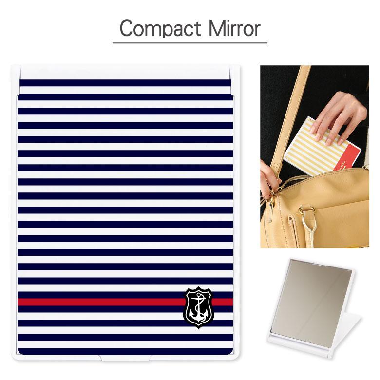 コンパクトミラー Marine Border 折り畳み式 | 鏡 かがみ ミラー コンパクト 小さい 軽い 軽量 コスメ 化粧 雑貨 スタンド おしゃれ かわいい マリン ボーダー