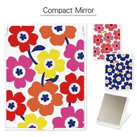 コンパクトミラー 北欧 花柄 折り畳み式 | 鏡 かがみ ミラー コンパクト 小さい 軽い 軽量 コスメ 化粧 雑貨 スタンド おしゃれ かわいい 花 花柄 シンプル
