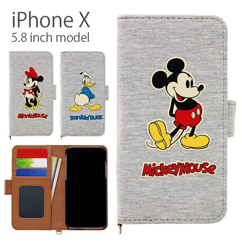 ディズニー iPhone X 5.8インチモデル対応 手帳型ケース スウェット iPhoneX グレー ミッキー ミニー ドナルド メンズ キャラクターグッズ かわいい カバー | キャラクター スマホケース ケース スマホカバー xs iphonexs アイフォンxs アイフォン 手帳型 おしゃれ
