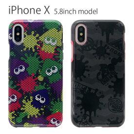 スプラトゥーン iPhone X 5.8インチモデル対応 ソフトケース TPUカバー アイフォンX イカ インク カラフル ブラック 黒 ドット柄   xs iphonexs アイフォンxs アイフォン iphonex ケース カバー スマホケース スマホカバー キャラクター ソフト おしゃれ かわいい