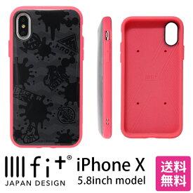 スプラトゥーン IIIIfit イーフィット iPhone X 5.8インチモデル対応 インク×グレー アイフォンX iPhoneX ブラック 黒 インク ピンク 耐衝撃 ストラップホール付き スマホカバー | ケース xs キャラクター スマホケース iphonexs カバー アイフォンxs ハード ハードケース