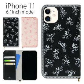 ディズニー 手帳型 ケース iPhone 11 6.1インチ スマホケース キャラクター フリップ カバー ジャケット ダイアリー アイフォン11 アイホン iPhone11 かわいい グッズ ミッキー 黒 | iphoneケース 手帳型ケース iphone11ケース アイフォンケース アイホンケース アイフォン