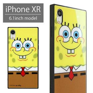 スポンジボブ スクエア ガラスケース iPhone XR ハードケース オシャレ スマホ かわいい Sponge Bob iPhoneXR アイフォンxr アイホン xr 可愛い カバー ジャケット ケース 携帯ケース スマホケース キ