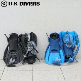 シュノーケル セット 大人 4点セット マスク + スノーケル + フィン + バッグ USダイバーズ ドライスノーケル付 メンズ アドミラル ADMIRAL