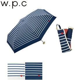 折りたたみ傘 レディース 50cm 雨傘 傘 w.p.c ジッパータイニーケース ハート 刺繍ボーダー mini 手開き ポーチ ジッパー 丸型骨 ホワイト/ネイビー 302-126 雨具 レイングッズ