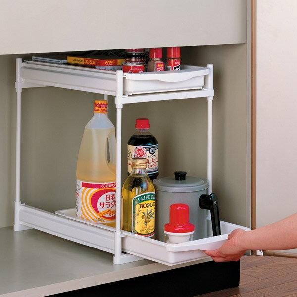 キッチン収納 シンク下 キッチン 収納 スライドラック 2段 調味料入れ コロ付き らくらく出し入れ キッチン 収納 トレー 整理棚