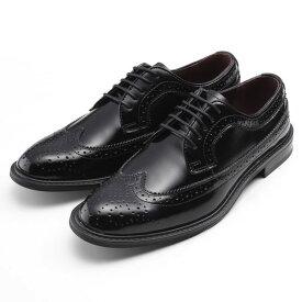 【ポイント10倍 クーポン配布中】 SARABANDE サラバンド 外羽 ウィングチップ ビジネスシューズ 紳士靴 25.0cm 40サイズ 本革 ブラック 8602-BLK-40