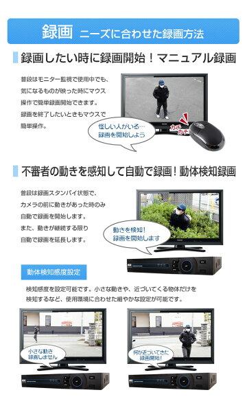 【8ch】防犯カメラ監視カメラ[録画機+52万画素選べるカメラ8台セット]モーション検知[防水暗視広角]スマホAndroid屋内屋外遠隔監視[1年保証]エースACE
