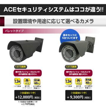 【8ch】防犯カメラ監視カメラ【AHD超高画質137万画素】[録画機+選べるカメラ5〜8台セット]モーション検知1TB無料[防水暗視広角]スマホAndroid屋内屋外遠隔監視[1年保証]エースACE137万画素