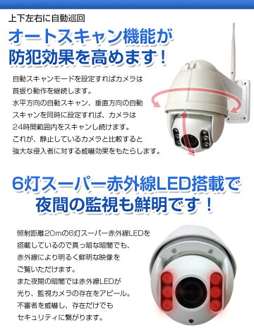 防犯カメラ監視カメラPTZワイヤレスIPWiFi無線[243万画素]【マイク内蔵あり】屋内用屋外用外出先からスマホで見れる!動かせる!モーション検知・メールでお知らせ!ネットワークカメラ[録画機不要]赤外線P2P遠隔監視[光学ズーム]パン・チルト・ズーム