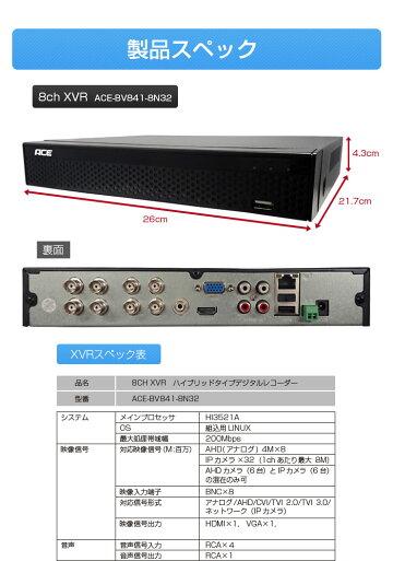 【有線8ch/IP32ch】録画機XVRハイブリッド録画機防犯カメラ有線4台接続・IP16台接続可能【AHDアナログワイヤレスIPカメラ対応】レコーダーモーション検知スマホAndroid遠隔監視エースACEスケジュール録画モーション検知録画監視カメラ