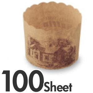 TEMMA 天満 マフィンカップ ハウス柄 150cc M404 茶 100枚