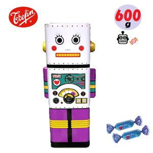 Trefin トレファン ベルギーロボット型キャンディー缶飴の詰め合わせ4種600g あめ貯金箱 インテリア おもちゃプレゼント 白 ホワイト 紫 パープル